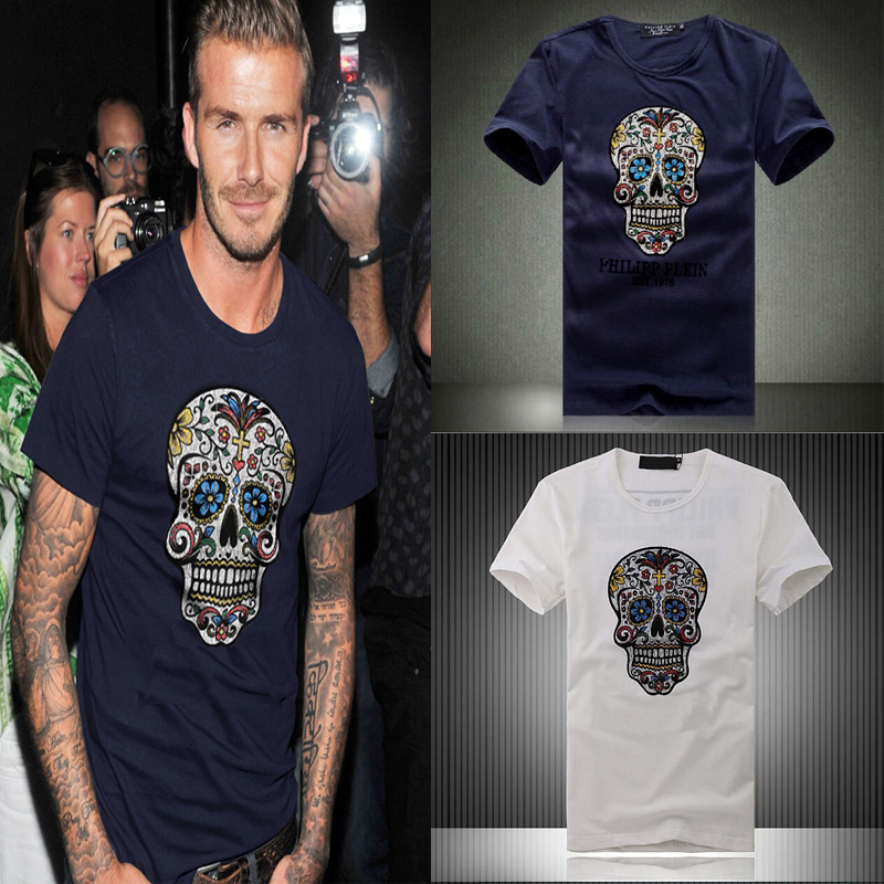 2015 Summer David Beckham fashion casual T shirt skull tide brand men's hip top cotton T-shirt beckham hiptop men t-shirt tees(China (Mainland))