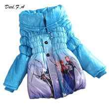 Winter Girls Coat Long Sleeve Snow Queen Girl Children Outwear Coat Cotton Paddad Kids Clothing Outfits Jackets Christmas Gifts(China (Mainland))