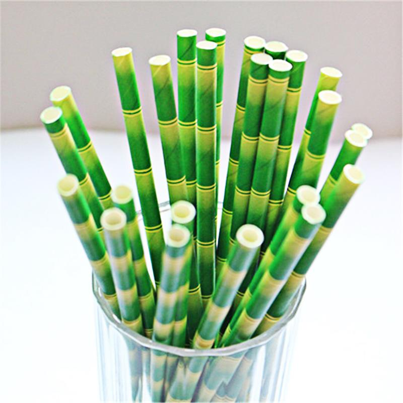 New 2015 Green Bamboo Paper Straws Novelty Drinking straw decoration boda Christmas decorations supply(China (Mainland))