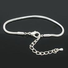 Buy DoreenBeads 2016 Wholesale 4 PCs Silver color Lobster Clasp Snake Chain Bracelets Women Men Fit European Charm 19cmx2.5mm for $1.97 in AliExpress store