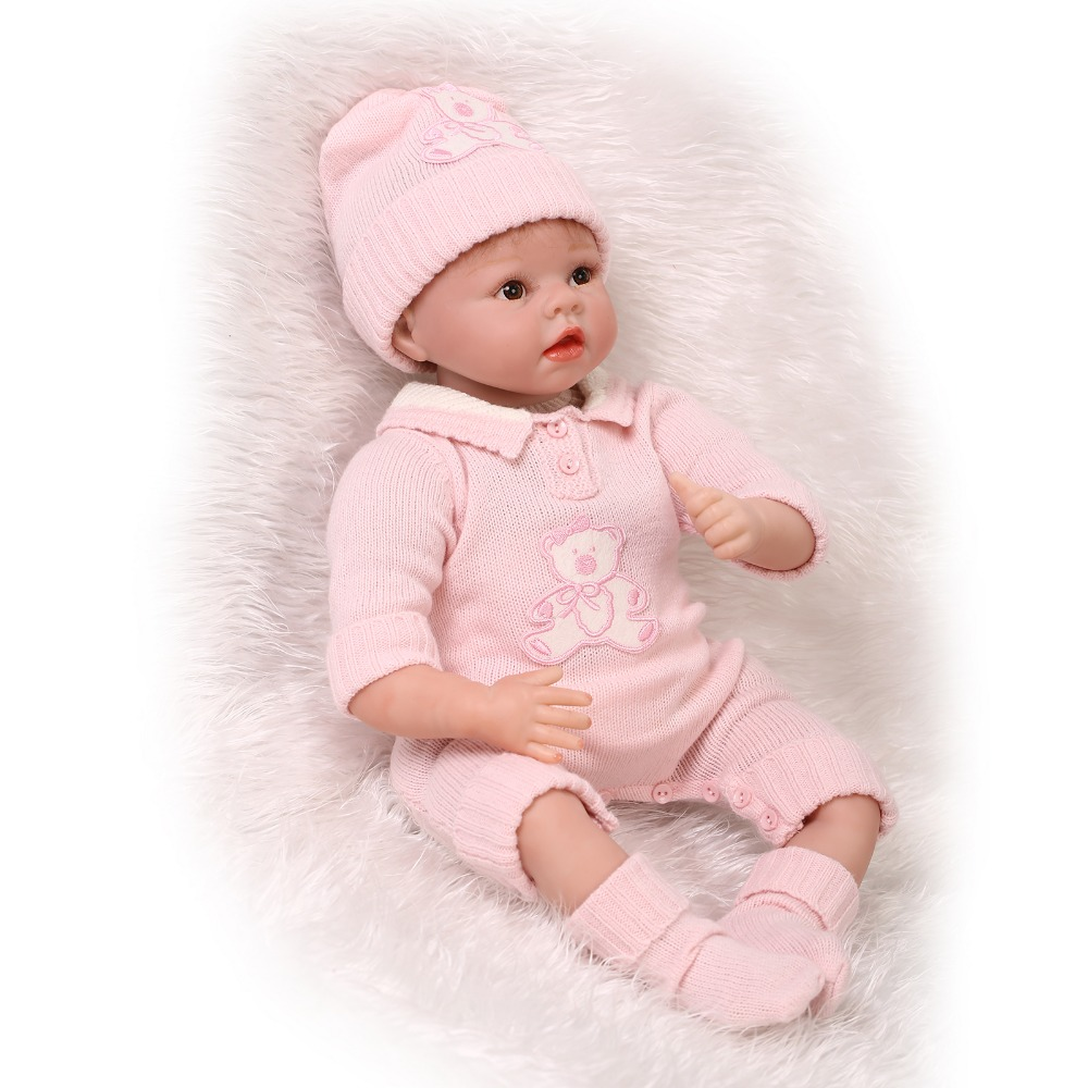 Фотография Top Quality 22 Inch NPK Real Silicone Doll For Girl Handcraft Vinyl Silicone Reborn Baby Dolls Boneca For Christmas Gifts