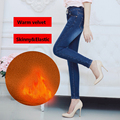 Women s winter warm fleece high waist jeans Female skinny elastic denim pencil pants plus large