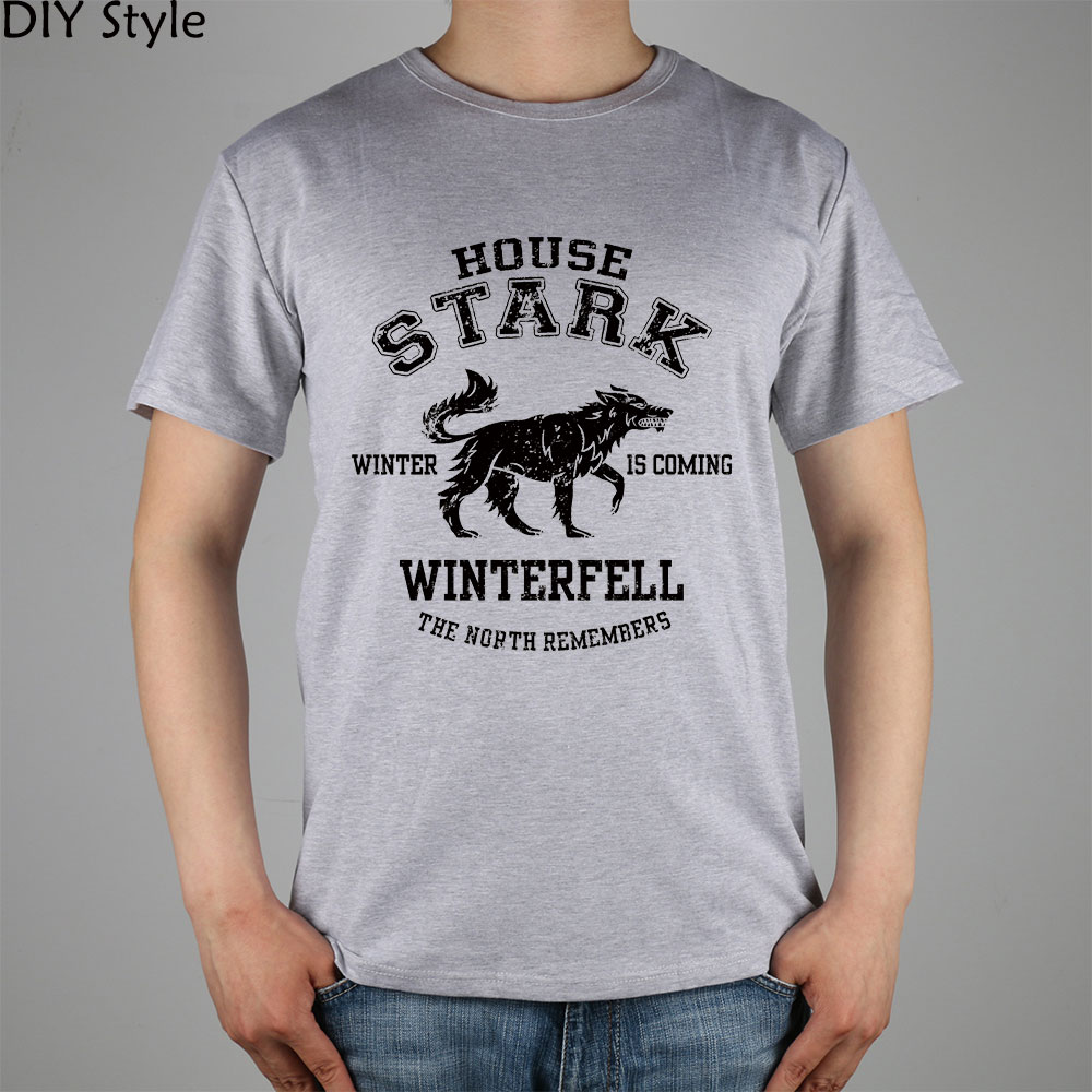 jy house stark game of thrones t shirt top lycra cotton fashion brand men t shirt high quality. Black Bedroom Furniture Sets. Home Design Ideas