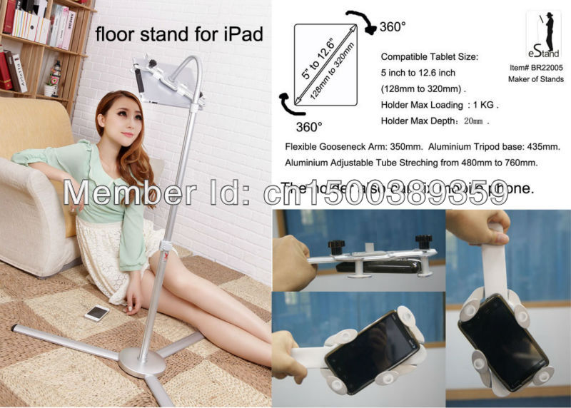 """Universal Tripod Floor / Bed Stand Mount Holder for iPad mini /5 to 12.6"""" Tablet PC / e-reader/ Amazon Kindle Fire/ Touch / Nook(China (Mainland))"""