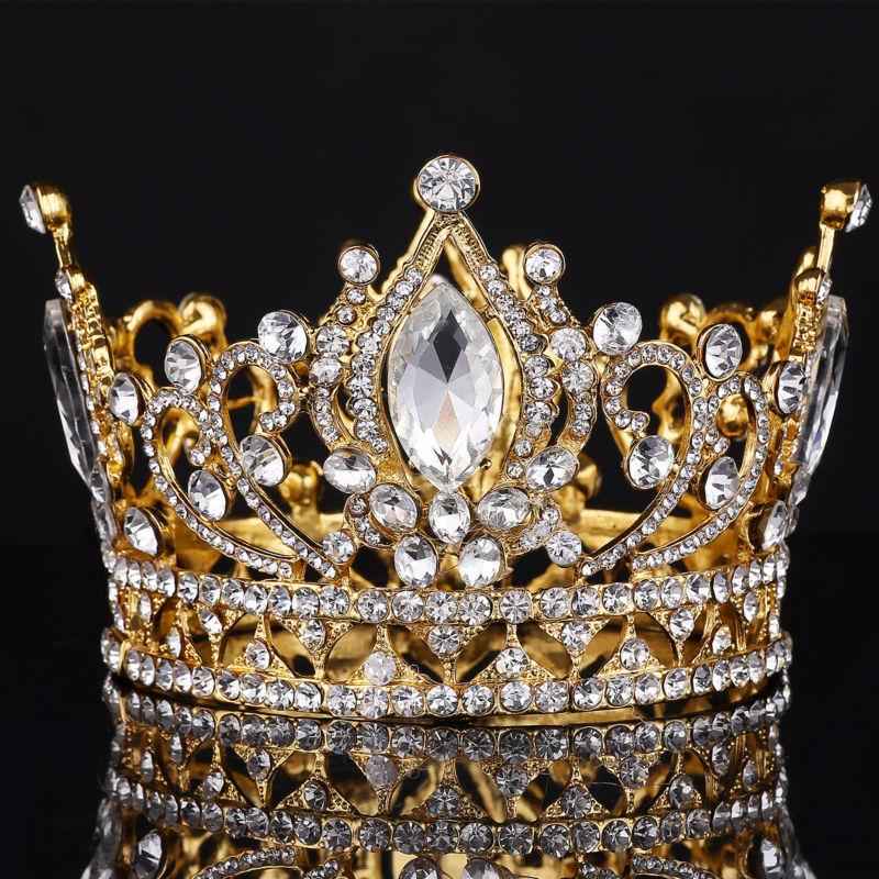 تيجان ملكية  امبراطورية فاخرة 2016-Hot-Big-European-Royal-Crown-Golden-Rhinestone-Crown-Super-Large-font-b-Quinceanera-b-font