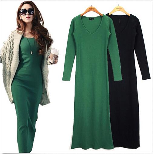 Women Dress 2016 Autumn Winter 5XL 6XL Plus Size Casual V-Neck Long Sleeve Maxi Work Dresses - Fashion Brand Customized Store store