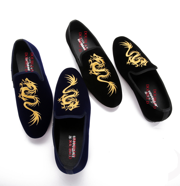 2015 newest men's smoking slippers China style men velvet loafers man party dregon embroidery - Double-D Fashion Shoes Store store