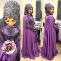 Oumeiya OWD806 Heavy Beaded Black Purple Two Color High Neck Long Sleeve Hijab Bridal Muslim Dress