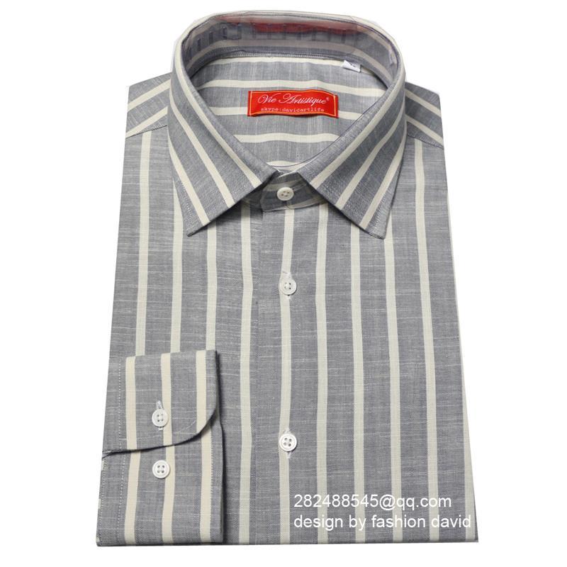 Striped Hexagon Cuff Dress Shirt, grey/white , mens custom tailor made business linen Shirt, free shippingОдежда и ак�е��уары<br><br><br>Aliexpress