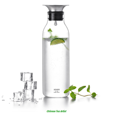 Flow Control Design Slim Glass Water Bottle with Stainless Steel Filter Lid 900ml,Hot and Ice Drink Bottle,Free Shipping