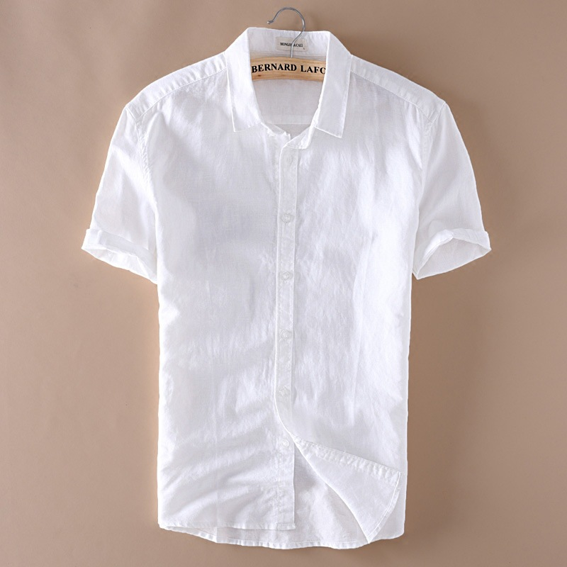2016 men 4xl casual shirts solid white short sleeve cotton for Mens short sleeve white dress shirt