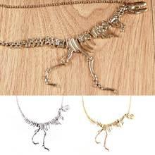 Cool Walking Dinosaur Bones Skeleton Pendant Necklace Metal Skull Chain