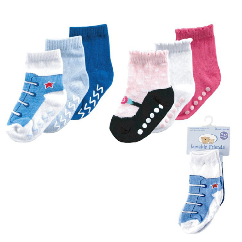 3pair/lot Free shipping Luvable Friends 3 Pack Non-Skid Baby Shoe Socks Girl, Boy, 0-6,6-18,18-36 months(China (Mainland))