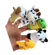 High Quality 10x Cartoon Biological Animal Finger Puppet Plush Toys Child Baby Favor Dolls P4(China (Mainland))