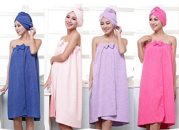 140*73cm Absorbent Microfiber Bath Towel Sets Women Beach Towels with Shower Cap Drying Washcloth Magic Bow Swimwear(China (Mainland))
