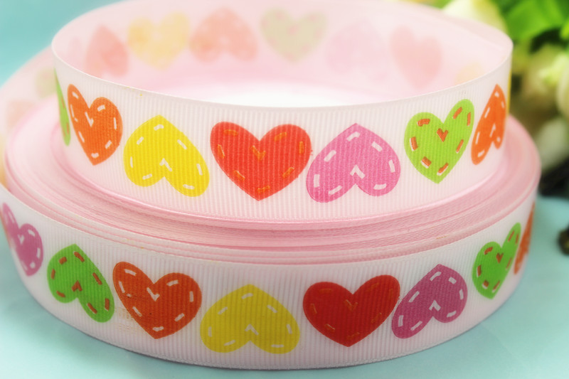 """New arrival 50yards/lot 1"""" 25mm Valentine pink colour heart grosgrain ribbon hairbows printed ribbon(China (Mainland))"""