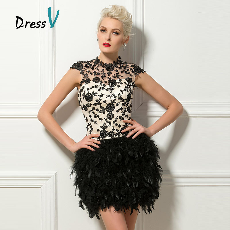Dressv black short feathers cocktail dresses sexy backless high neck