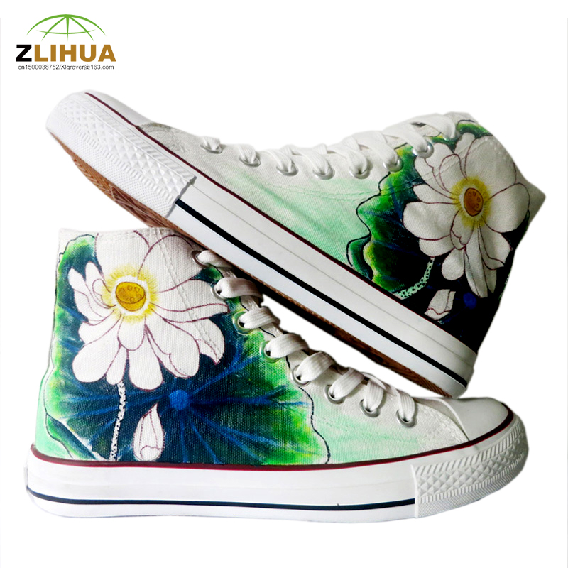LUC Graffiti Painted Shoes High-top Canvas Shoes Chinese Style Lotus Pattern Style Fashion Casual for Men Women Shoes Size 35-46<br><br>Aliexpress