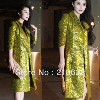 NE 2013 luxury yellow green double side sequin star of fluorescent lace embroidery with sequins dust coat coat majestic demeanor
