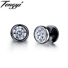 Fashion Stainless Steel Stud Earrings Round Crystal Stone Paved Rhinestone Stud Earrings For Men TY325(China (Mainland))