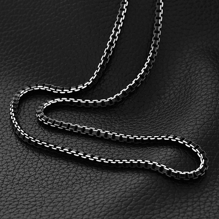 Trendy Box Link Chain Men Jewelry High Quality Never Fade Black 316L Stainless Steel Necklace Men