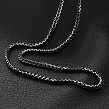 man chain Black Stainless Steel Necklace Free Shipping 55CM 3MM Box Link Chain Men Necklaces High Quality Never Fade N511