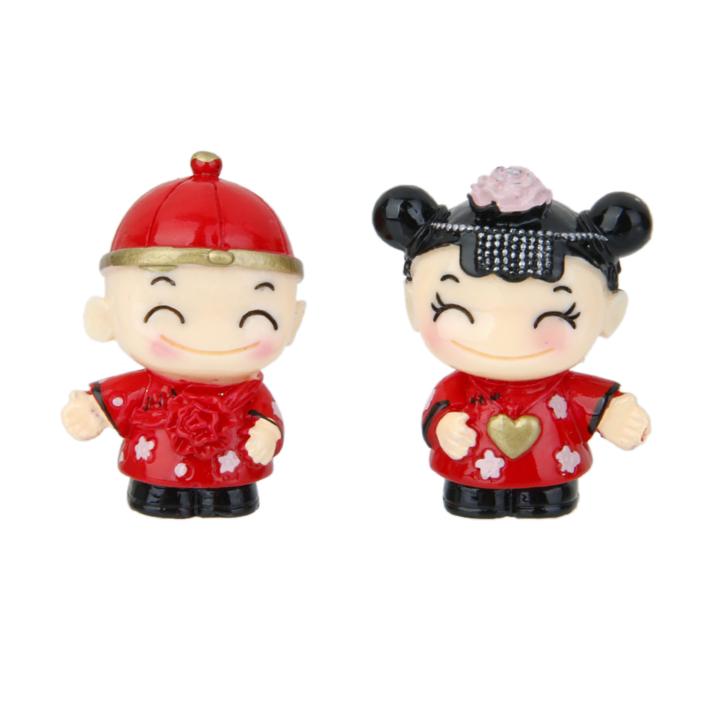 1 Pair Miniature Dollhouse Bonsai Craft Fairy Garden Glass Vase Chinese Couple Decor Garden Decor
