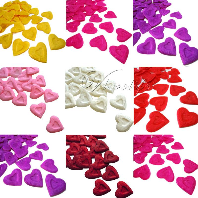 Free Shipping 500PCS Heart Design Silk Rose Petals Artificial Flower Rose Petals Wedding Party Xmas Event Decorations Supply(China (Mainland))