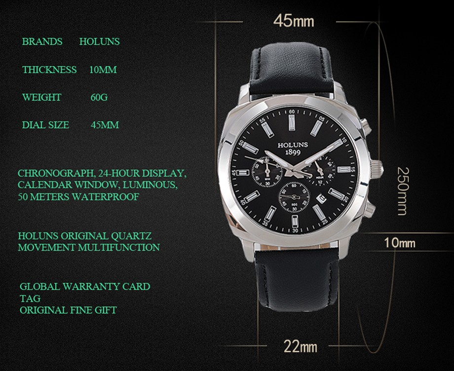 Multifunction Big dial business mens watches top brand luxury calendar window SS case luminous digital watch men 2016 New HOLUNS