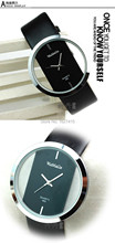 New 2015 Fashion men sports watches contracted business quartz watch transparent dial leather strap watches relogio
