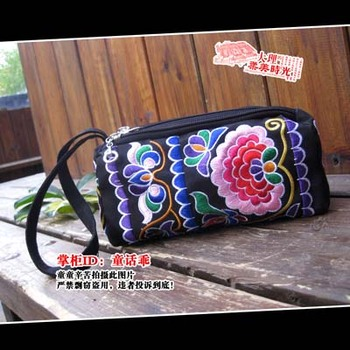 Exquisite embroidered change pocket clutch mobile phone bag embroidered purse wisteria