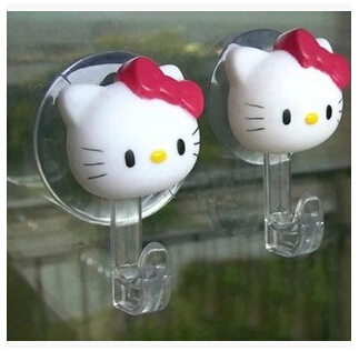 2/pcs Free shipping New Hello Kitty pothook Suction Hooks Bathroom/Bedroom/ pothook set accessories Eco-Friendly(China (Mainland))