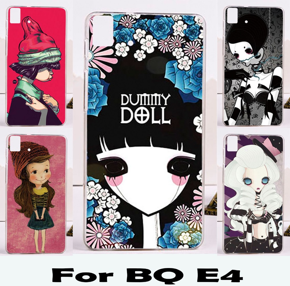 new Hot!Limited edition Puppet doll little girls mobile phone skin case Cover For BQ Aquaris E4 E 4 Phone Durable Shell BAG(China (Mainland))