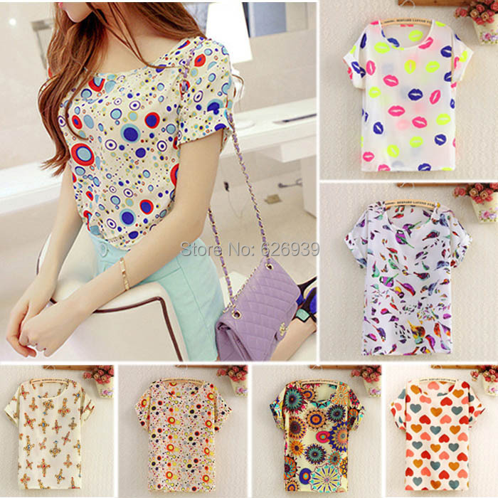 2015 Fashion Top Casual Chiffon Print Summer Blouse Women Tops New Brand Loose t shirt women