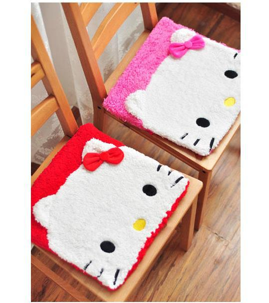 (5 Pcs/Lot) Lovely Fashion Hello Kitty Cartoon Home Use Chair Seat Car Cotton Cushion,Size 35*35*2 CM(China (Mainland))