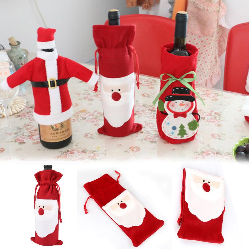 Christmas Wine Bottle Cover Santa Clause Clothing Hat Dress Christmas Gift New Christmas Wine Bottle Cover Decoration L50(China (Mainland))