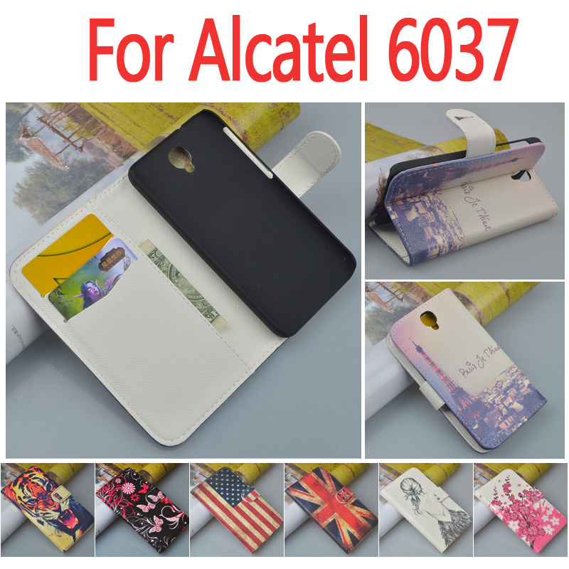 Printing Pattern Leather Flip Case cover wallet For Alcatel One Touch Idol 2 OT 6037K 6037B 6037Y 6037 phone with Card Holder(China (Mainland))