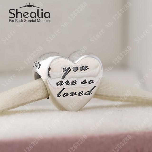2015 осень новый вы так возлюбил шармов сердца оригинал 925 прекрасно Shealia ювелирные известный бренд DIY браслеты