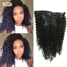 6A Grade Mongolian Virgin Hair Kinky Curly Clip In Hair Extensions 7Pcs/set 120g African American Clip In Human Hair Extensions(China (Mainland))