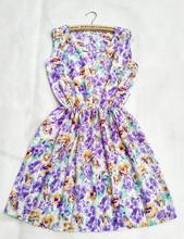 2016 F&H Brand 20 Colors Morning Glory Florals Print Women New Sleeveless Round Neck Dress Saias Femininas Summer Vestido(China (Mainland))