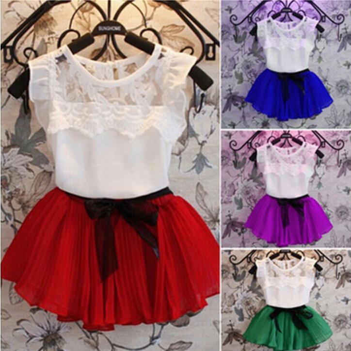 2015 New Girls Princess Elsa Dress + T shirt 2 Pcs Set 2-12 Age Layered Tutu Dress Sets Clothing Sets, Girls fashion lace suits.(China (Mainland))