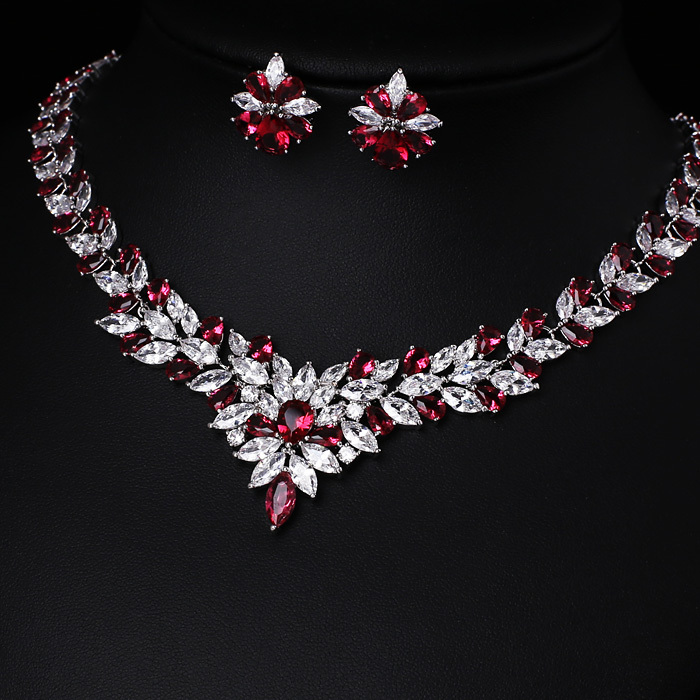 Cubic Zirconia Jewelry Sets : Red free shipping platinum plated aaa cubic zirconia