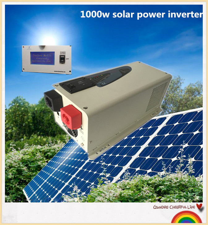 Free shipping LCD remote controller dc12v to 220vac 1000w pure sine wave low frequency solar panel inverter(China (Mainland))