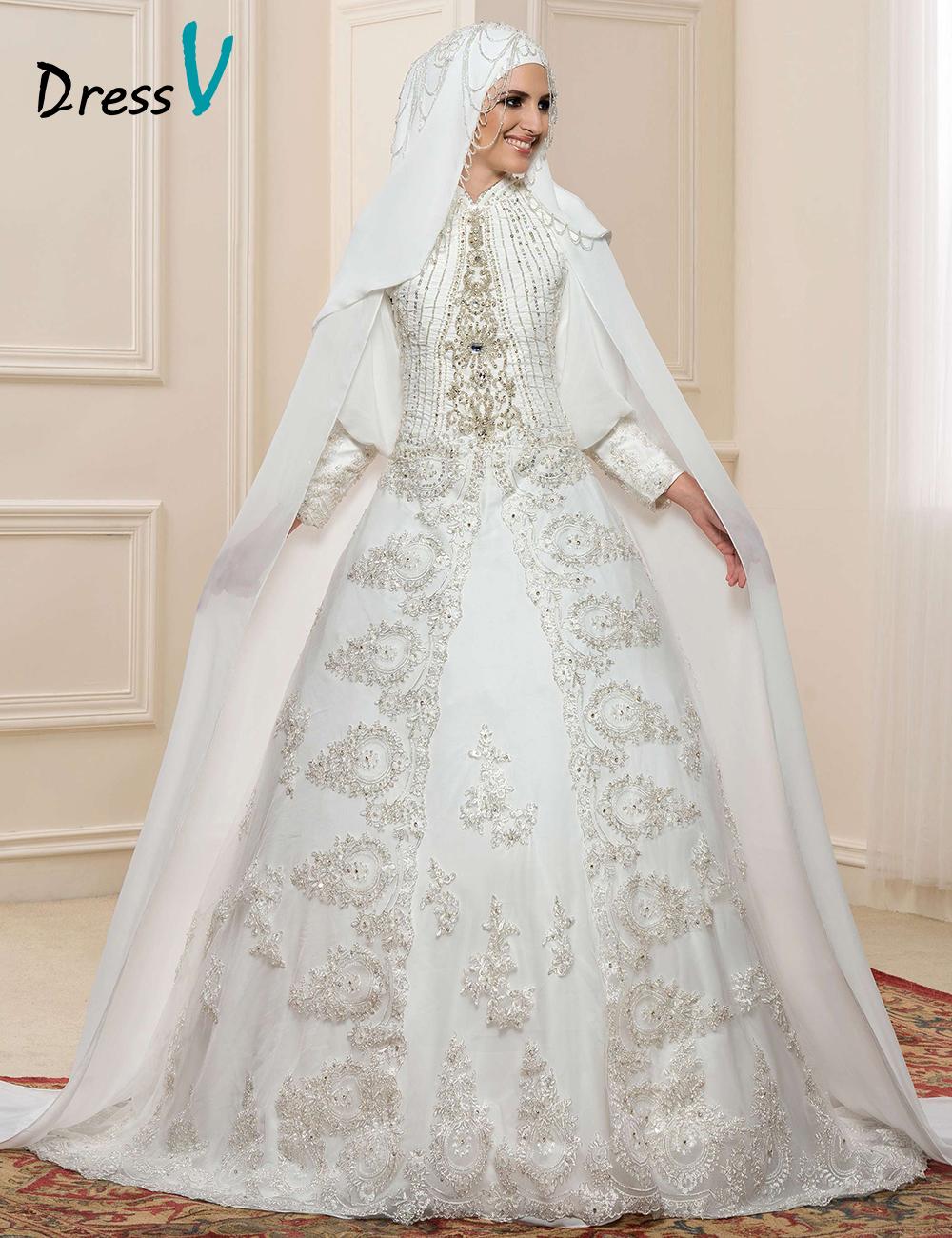 Gorgeous Lace Applique Long Sleeve Muslim Wedding Dresses