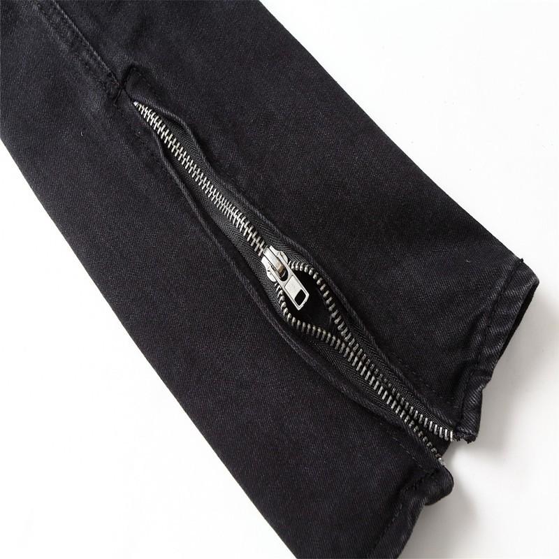 Mens Best version Fear of God FOG Jeans zippers skinny slim fit men jean Distressed justin bieber black cotton Denim jeans pants