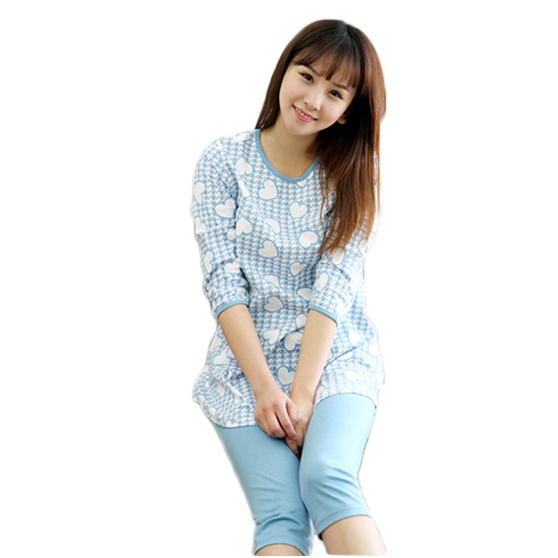 2016 Pajamas Cotton Sleepwear Casual Long Lounge Wear O-neck Women Pajama Set Cute Pajamas Casual Nightwear Home Clothing(China (Mainland))