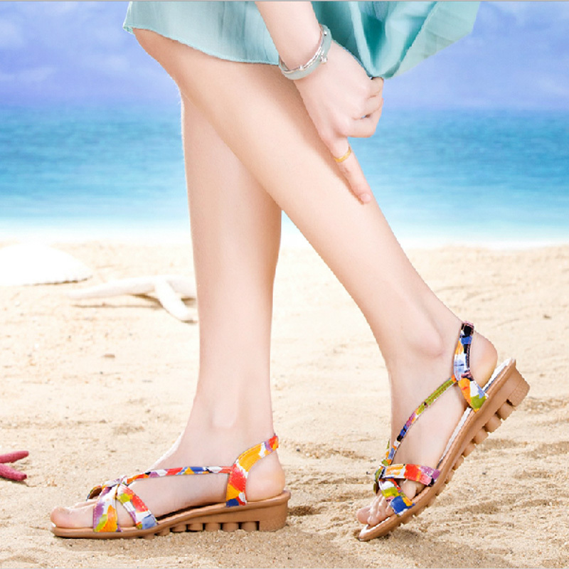 Genuine Leather Sandals Cow Muscle Women 2015 Summer Flat Heel Brand Shoes Rome Style - Happy hour 100% store