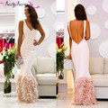 Simple Pink Feather Mermaid Evening Dresses Sexy Backless White Satin Prom Dresses Long Formal Gowns Evening