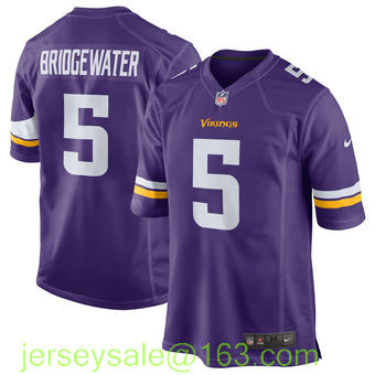 New Arrival Men Minnesota Vikings 5 Teddy Bridgewater 28 Adrian Peterson 22 HARRISON SMITH Purple/White(China (Mainland))