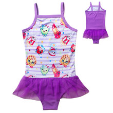 Baby Girls Swimwear Toddler Swimsuit Dress Character Shopkins Bikini Children Kids One piece Bathing Suit 4-9 Free Shipping